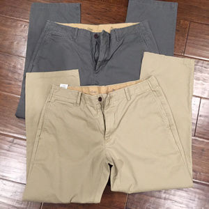 Gap mens chino khakis lot gray and tan 34 W x 28 L
